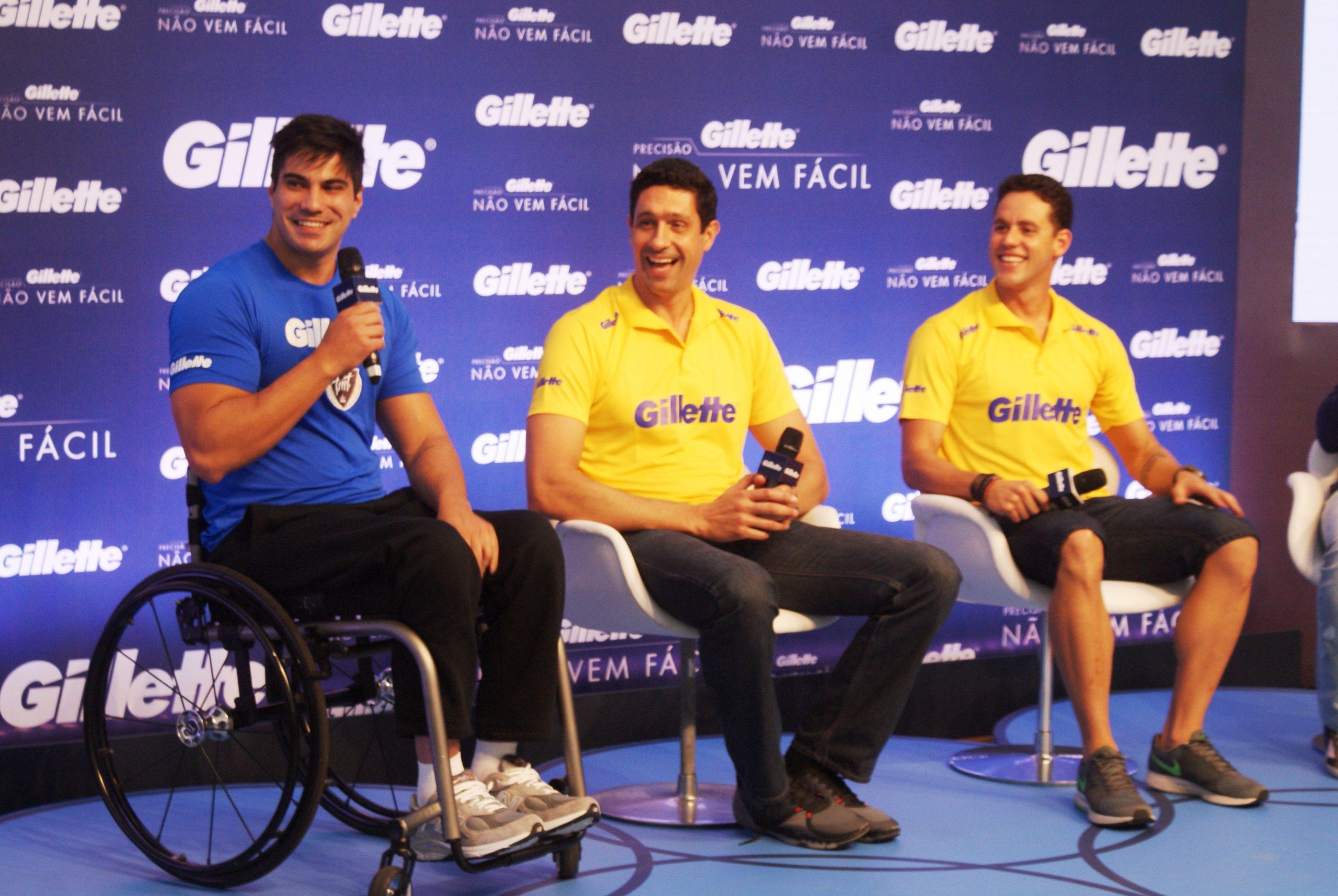 Thiago Pereira e Gustavo Borges se encontram e conversam em evento