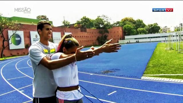 Matéria gravada pelo Sportv no NAR sobre a preparação da atleta Terezinha Guilhermina para os Jogos Paralímpicos Rio 2016