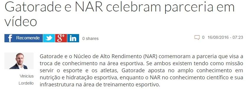 Gatorade e NAR celebram parceria em vídeo